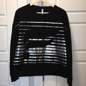 Fabletics black sweatshirt with silver decal